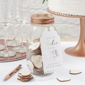 esküvői vendégkönyv (alternatív) – kívánságüveg szívekkel