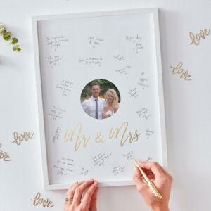 esküvői vendégkönyv (alternatív) - Mr és Mrs képkeret fotóval