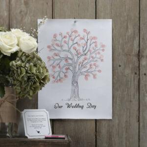 esküvői vendégkönyv (alternatív) – rózsaszín ujjlenyomat fa készlet