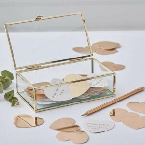 esküvői vendégkönyv (alternatív) – üvegdoboz arany szívekkel