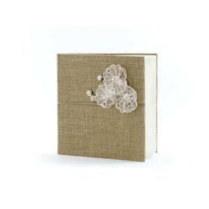 esküvői vendégkönyv – csipkés, barna