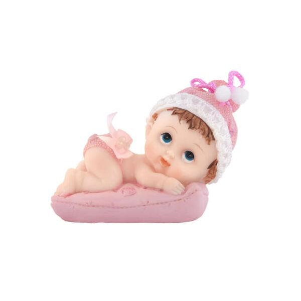 babaváró tortadísz – lánybaba párnán