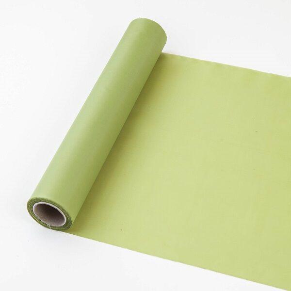 25 cm széles dekorselyem futó (10 m) – fűzöld