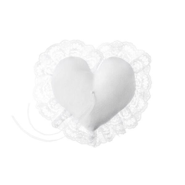 gyűrűpárna – csipkés szélű szív, fehér