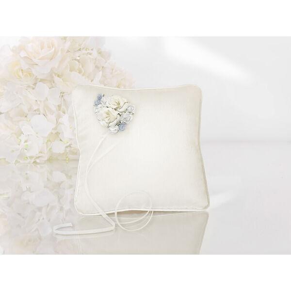 gyűrűpárna – kék virágos, krém
