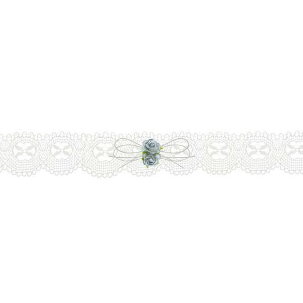 esküvői harisnyakötő – krém csipke, kék rózsával