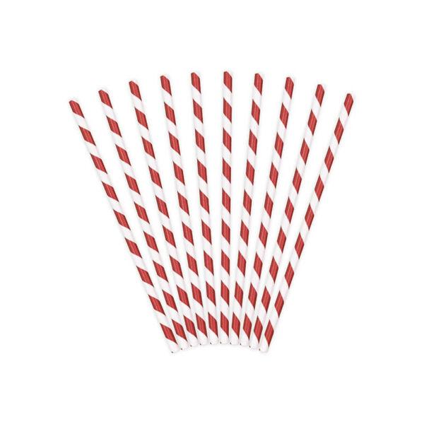 papír szívószál (10 db/cs) – piros