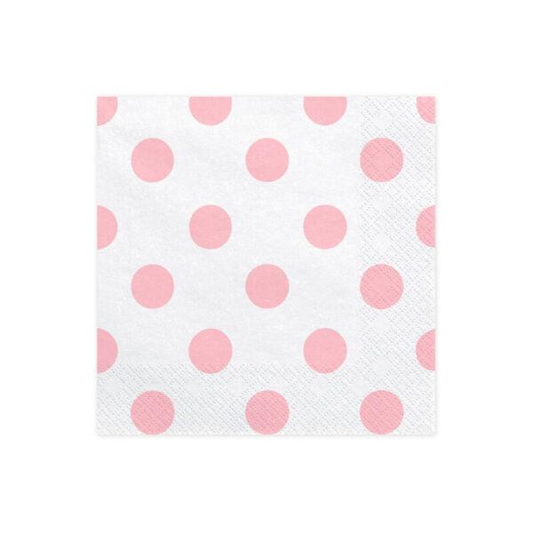 szalvéta 33x33 cm 3 rétegű (20 db/cs) – rózsaszín pöttyös