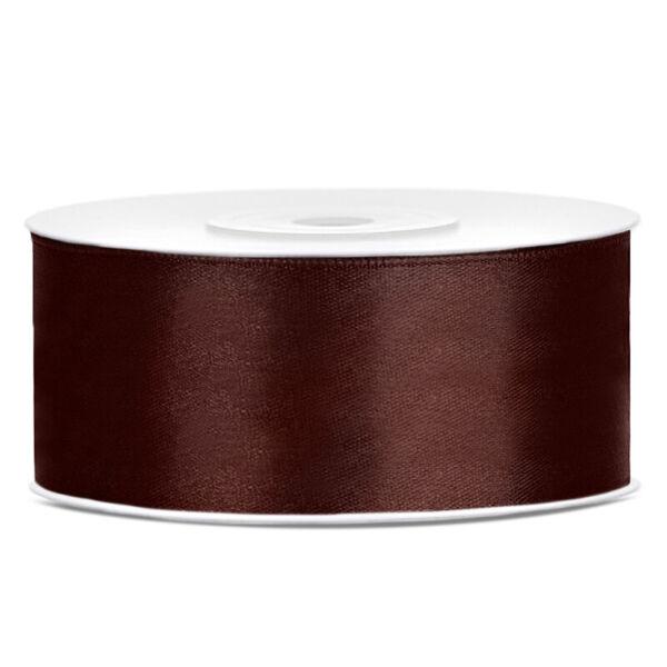 25 mm széles szatén szalag (25 m) – kávébarna
