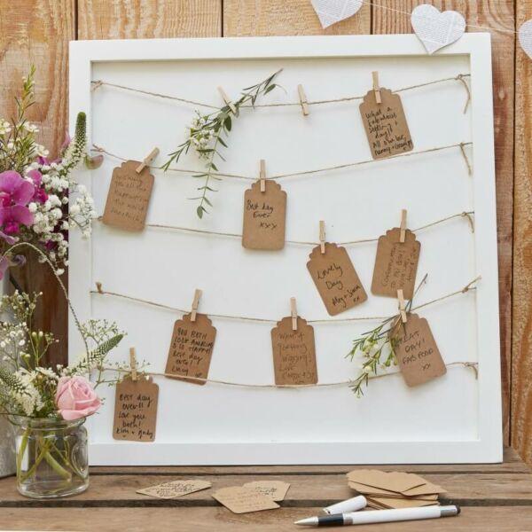 esküvői vendégkönyv (alternatív) – képkeret fa csipeszekkel és kártyákkal 2f4833c549