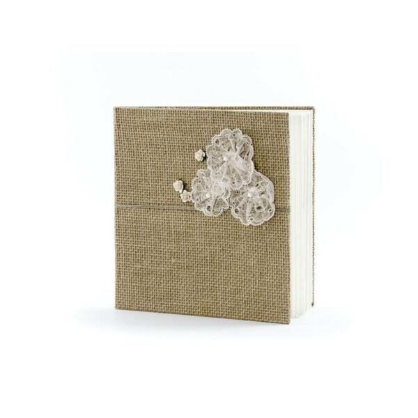 42302f1f5a esküvői vendégkönyv – csipkés, barna - vendégkönyv