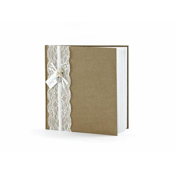 7798b8b7b2 esküvői vendégkönyv – vintage, barna - vendégkönyv