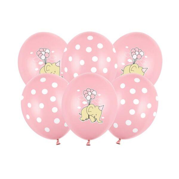 babaváró elefántos lufi 30 cm (6 db/cs) - rózsaszín
