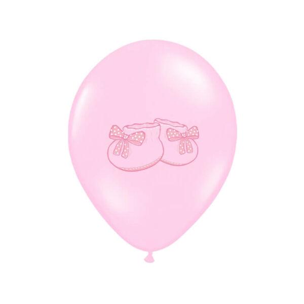 babaváró kiscipős lufi 30 cm - rózsaszín