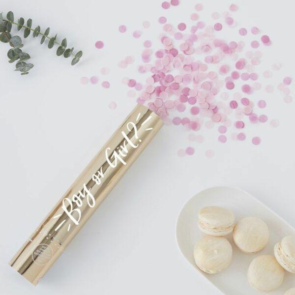 babaváró konfetti ágyú - rózsaszín (lány)