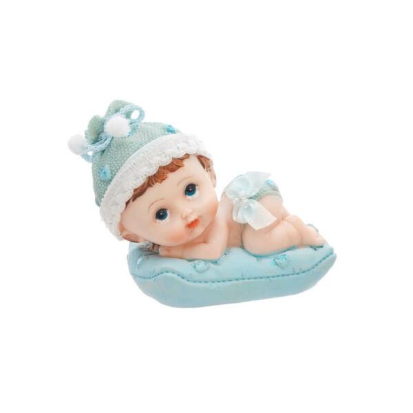 babaváró tortadísz - fiúbaba párnán