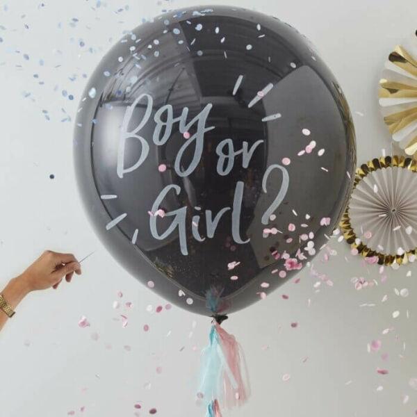 babaváró konfetti lufi - Boy or Girl