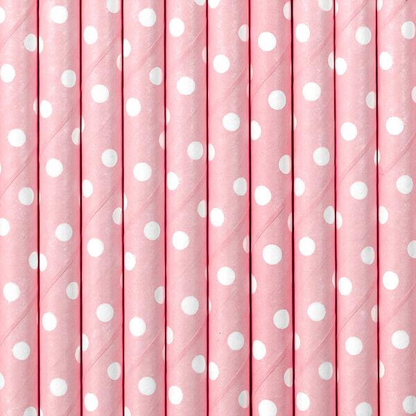 papír szívószál (10 db/cs) - pöttyös, rózsaszín