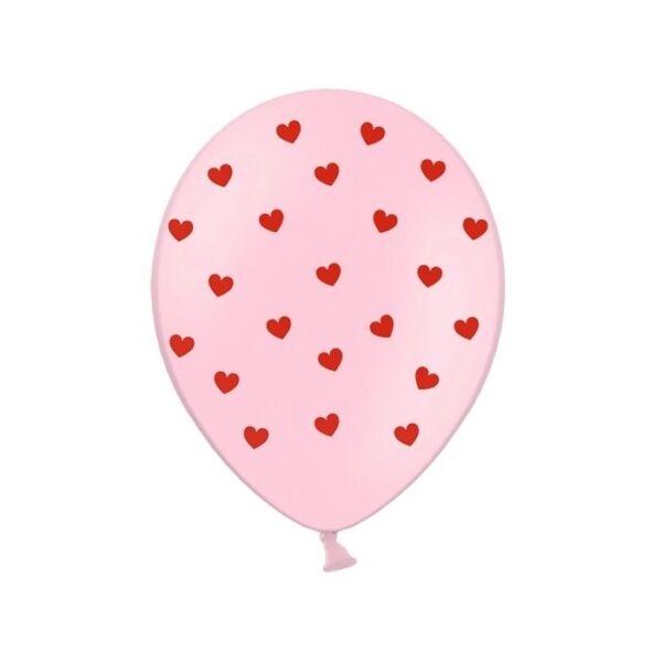 szív mintás lufi 30 cm – rózsaszín