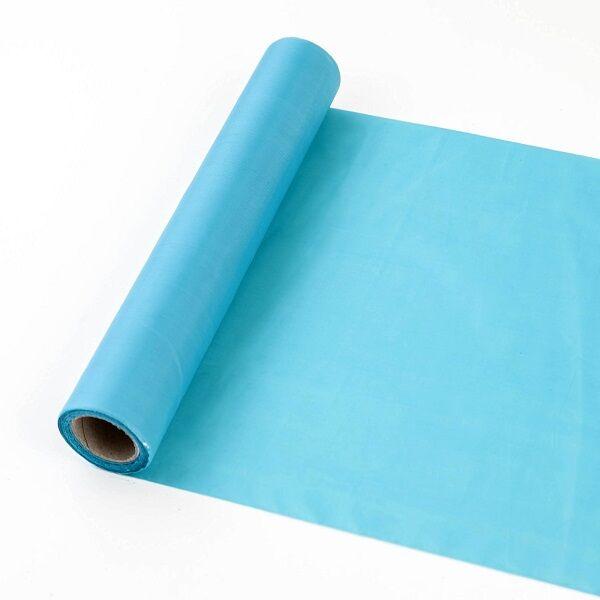 25 cm széles dekorselyem futó (10 m) - türkiz