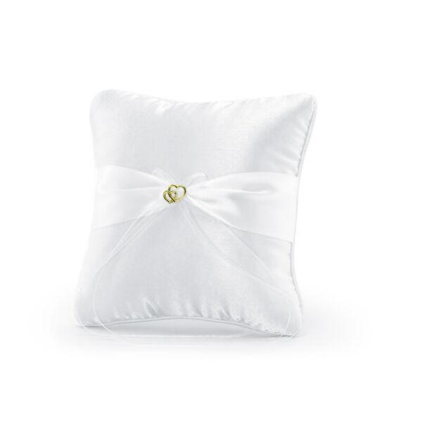 gyűrűpárna – arany szíves, fehér