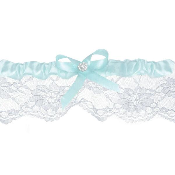 esküvői harisnyakötő - fehér csipke, kék masnival