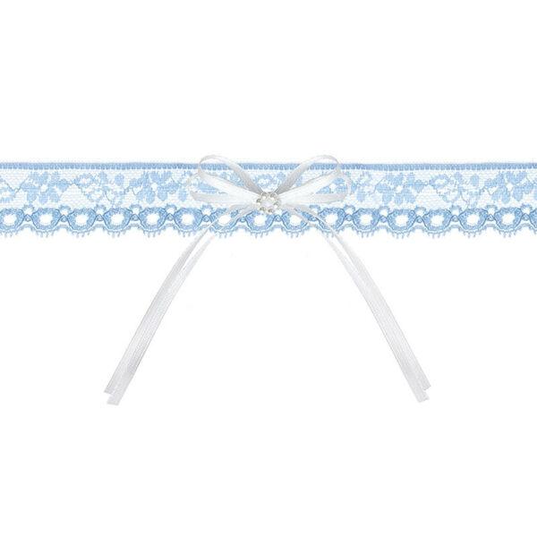 esküvői harisnyakötő - kék csipke, fehér masnival
