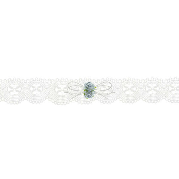 esküvői harisnyakötő - krém csipke, kék rózsával