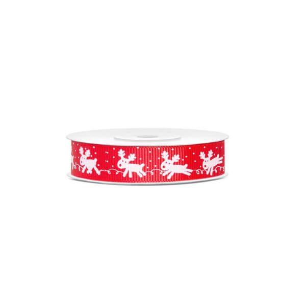 karácsonyi szalag (15 mm x 10 m) - piros, rénszarvas