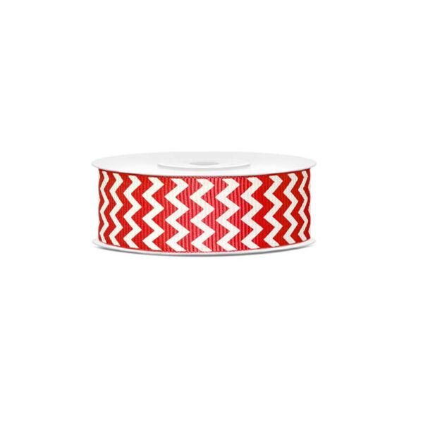 karácsonyi szalag (25 mm x 10 m) - piros, cikk-cakk mintás