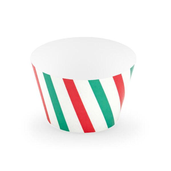 cupcake tartó (6 db/cs) - piros és zöld csíkos
