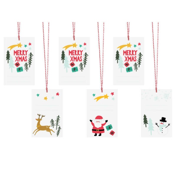 karácsonyi ajándékcímke (6 db/cs) - Merry Xmas