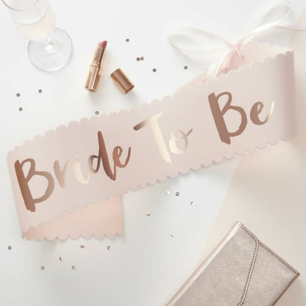 lánybúcsú szalag – Bride To Be, rose gold
