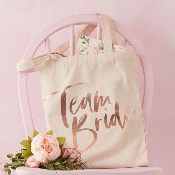 lánybúcsú vászontáska – Team Bride