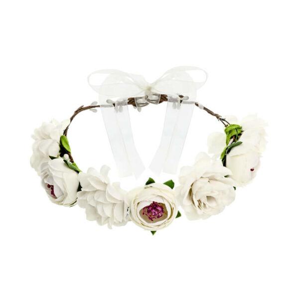 virágkoszorú fejdísz - fehér