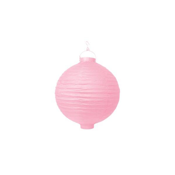 világító LED lampion gömb 20 cm – rózsaszín