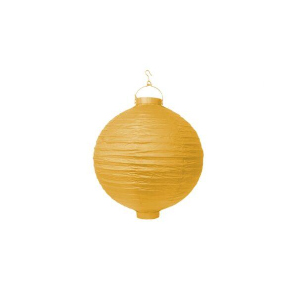világító LED lampion gömb 20 cm - sárga