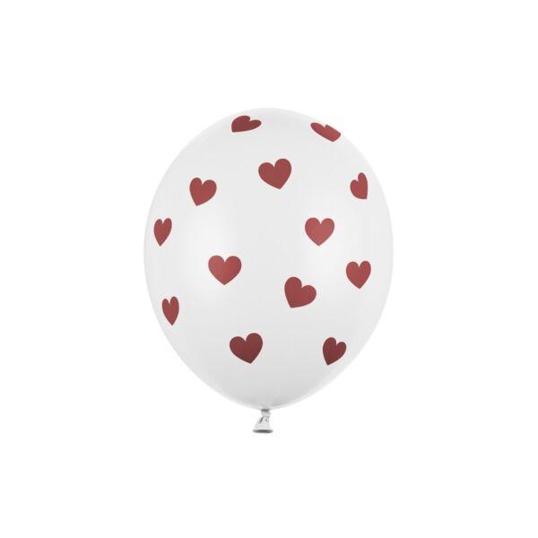 szív mintás lufi 30 cm - fehér