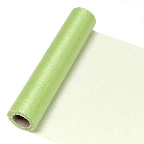 23,5 cm széles organza futó (10 m) - zöld