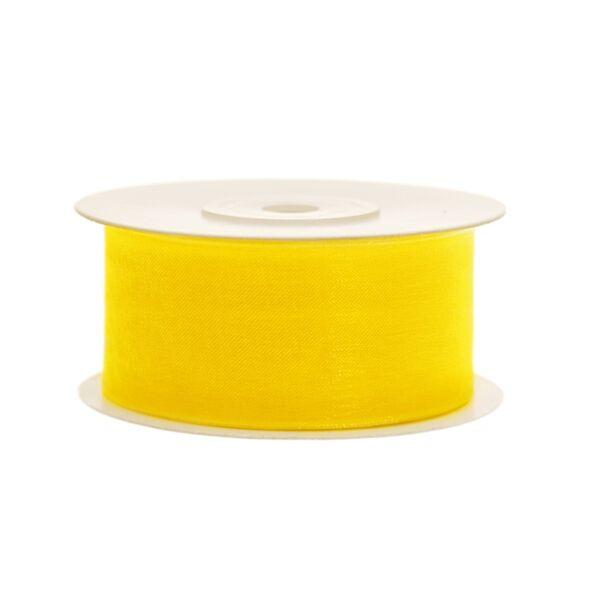 38 mm széles organza szalag (25 m) – sárga