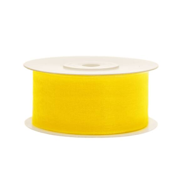 38 mm széles organza szalag (25 m) - sárga