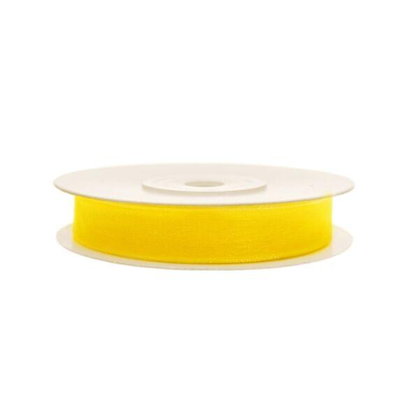 6 mm széles organza szalag (25 m) – sárga