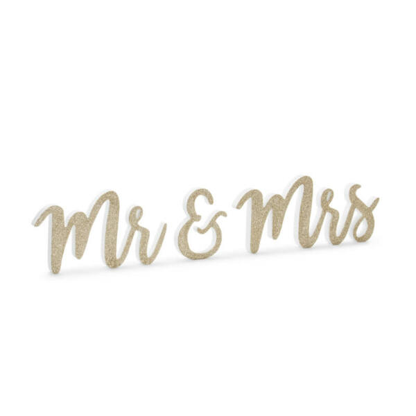 Mr és Mrs fa asztali dekoráció - arany
