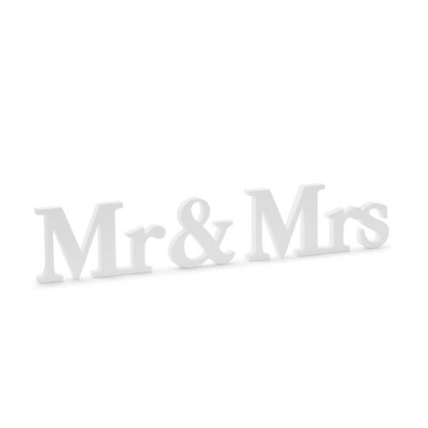 Mr és Mrs fa asztali dekoráció – fehér