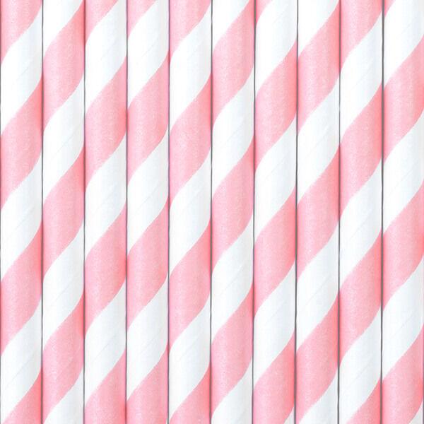 papír szívószál (10 db/cs) – csíkos, rózsaszín