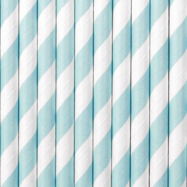 papír szívószál (10 db/cs) – csíkos, világoskék