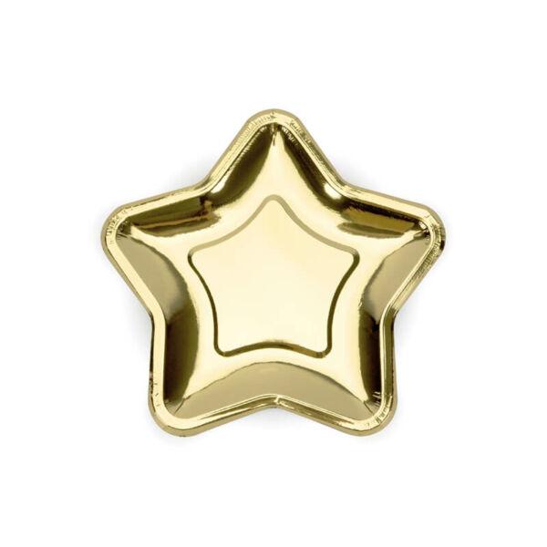 papír tányér (6 db/cs) - csillag alakú, arany