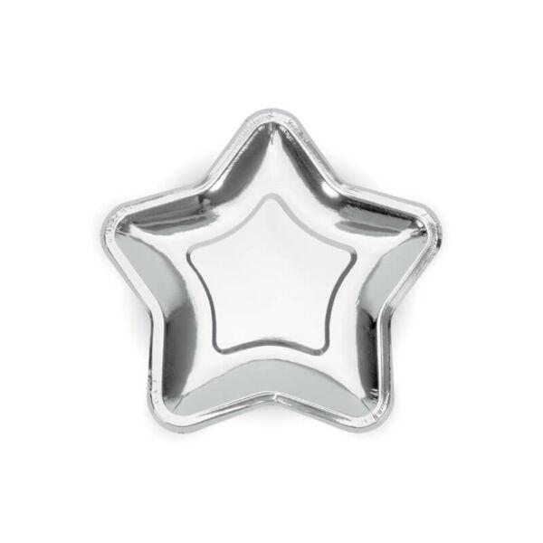 papír tányér (6 db/cs) – csillag alakú, ezüst