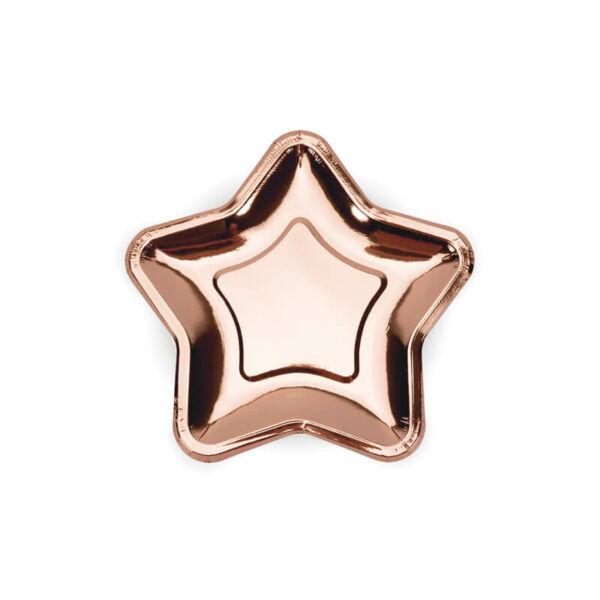 papír tányér (6 db/cs) - csillag alakú, rose gold