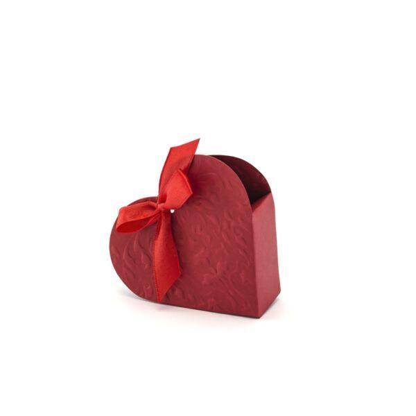 szív alakú papírdoboz (10 db/cs) - piros